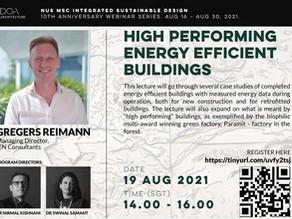 High Performing Energy Efficient Buildings (free webinars)