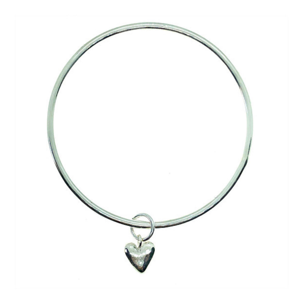 Recycled Silver Heart Bangle