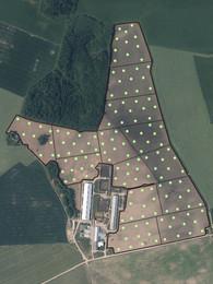 Kartē attēlotas zondējumu vietas. Zondējumi veikti zig-zag veidā.
