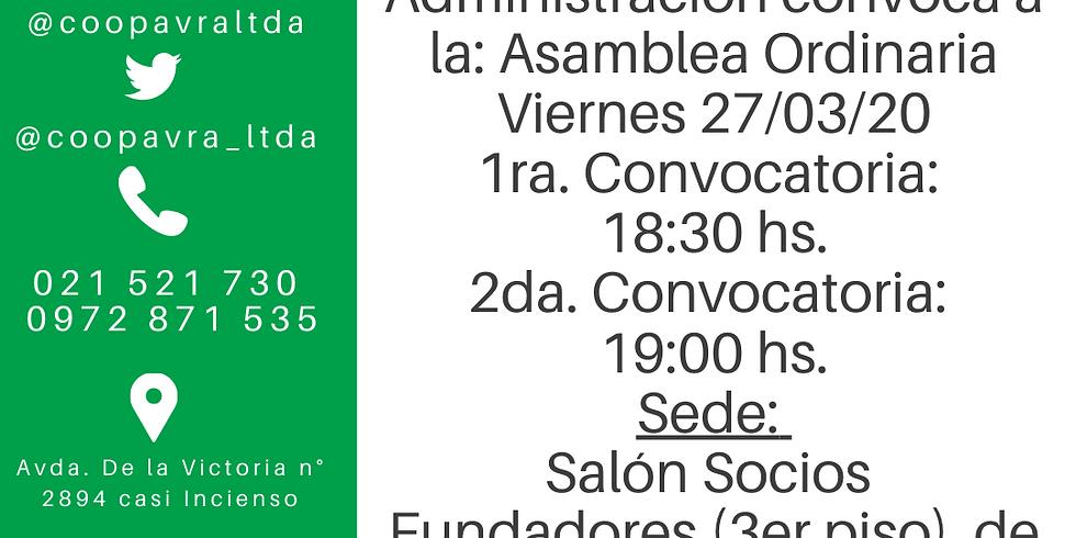 Asamblea Ordinaria. Primera Convocatoria 18:30 hs Segunda Convocatoria 19:00 hs