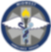 Midwest Ambulance Logo, blue and gray circles with the star of life in the middle