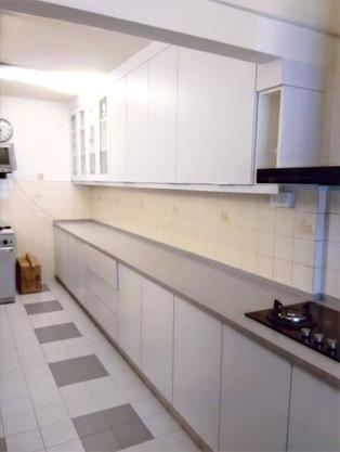White Laminated Kitchen Cabinets