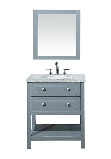 "Marla 30"" Single Sink Vanity with Mirror in Grey"