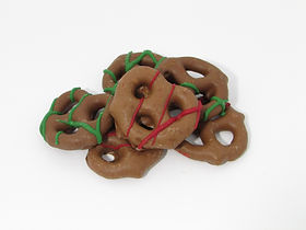Holiday Pretzel with with red and green