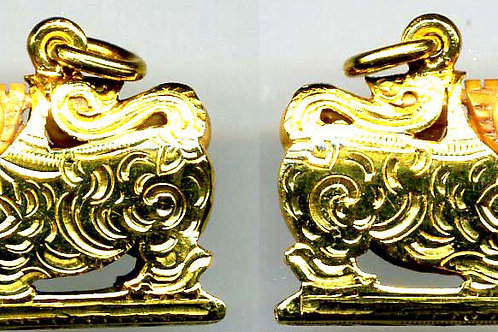 Beautiful armor gold case work of Sing(Lion/Dragon) ivory.