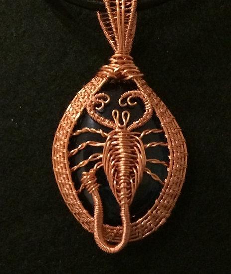 Blue Agate featuring a scorpion