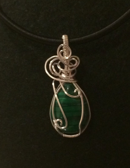 Malachite wrapped in silver plated wire