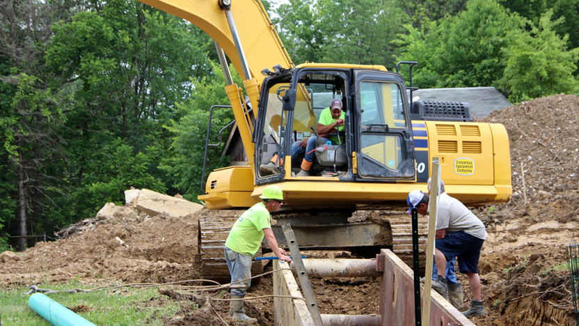 Installation of a lateral sewer line.