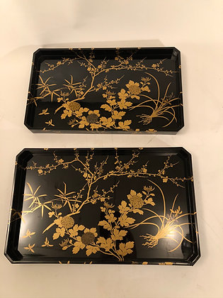 Makie Lacquer Tray (pair) [H-T 448]