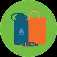 Merchandise icon, water bottle, bag, flash drive