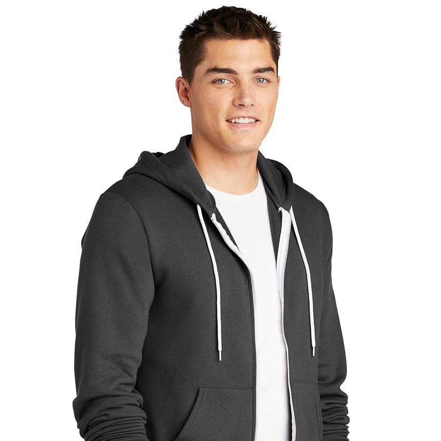 Man in dark grey American Apparel hoodie