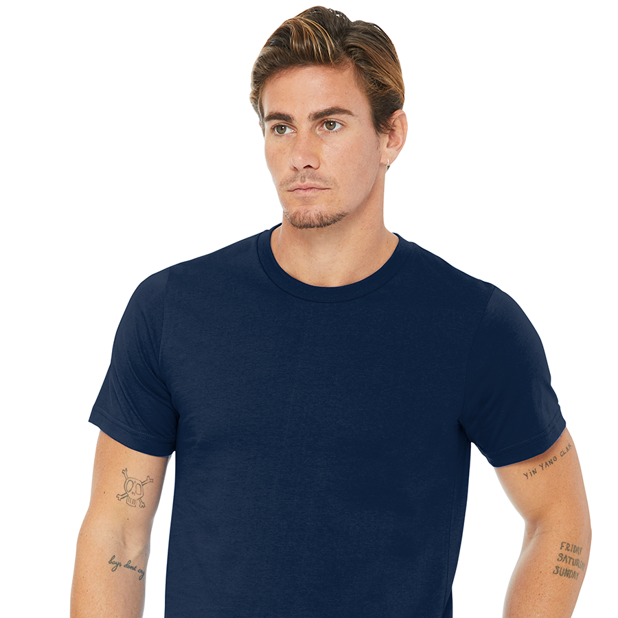 man in navy made in the USA Bella+Canvas shirt