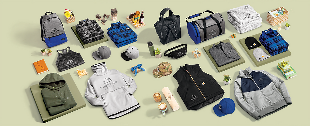 Branded products including apparel, water bottles, and other swag on green background