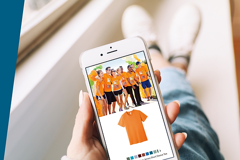 hand holding smart phone ordering race t-shirt