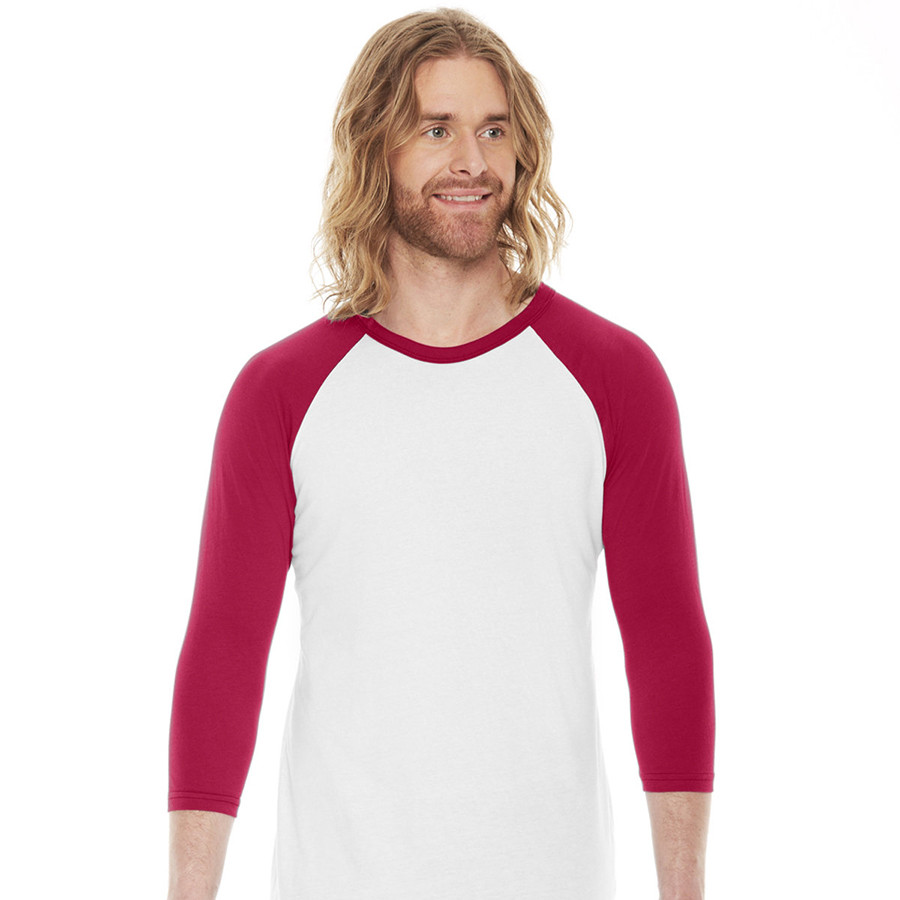 Man in red and white American Apparel baseball shirt
