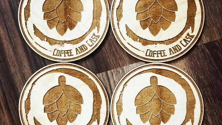 Coffee and Cask Wooden Coaster Set