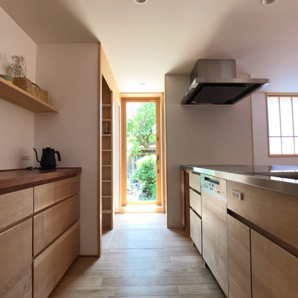 造作キッチン Miele 食洗器 木の家 滋賀 工務店