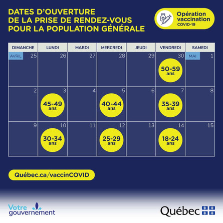 BREAKING: MOST QUEBECERS TO RECEIVE FIRST VACCINE APPOINTMENT BY MAY 14.