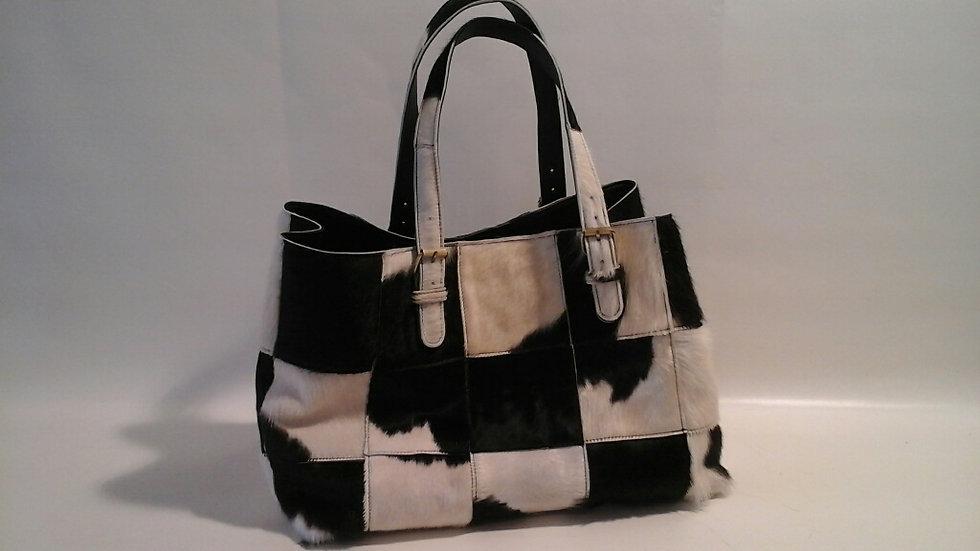 Alice Bag Cowhide Patchwork Black & White