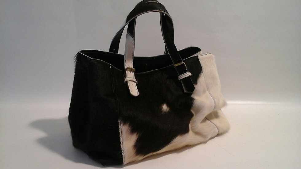 Alice Bag Cowhide LARGE Brown & White
