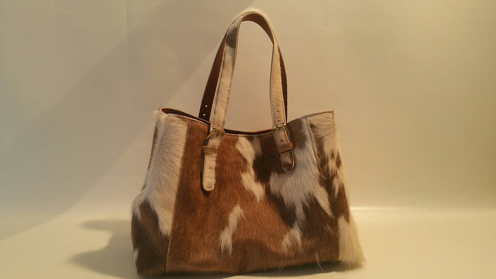 Alice Bag Cowhide LARGE Taupe & White