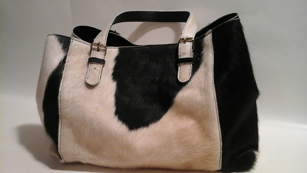 Alice Bag Cowhide LARGE Black & White