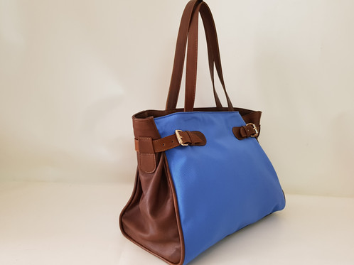 Handbag in Summer Fabric and brown leather sides fc56de9d009d7