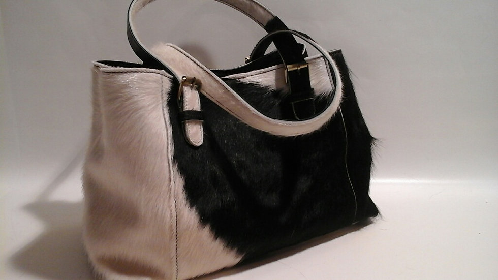 Alice Bag Cowhide MEDIUM Black/White