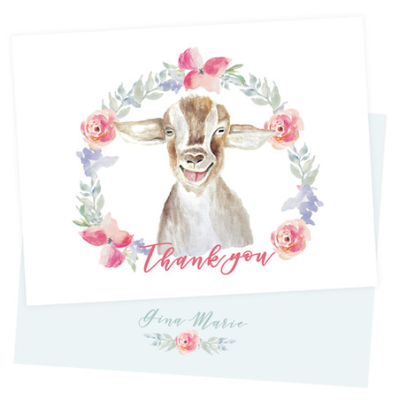 Thank you card with my hand painted goat