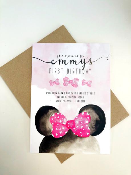 Mini Mouse birthday invatations
