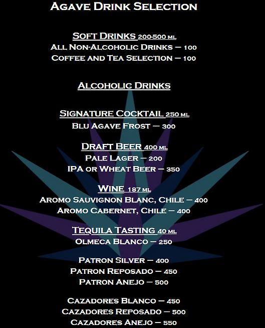AGAVE drinks menu
