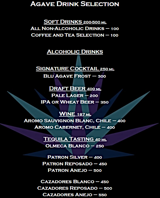 AGAVE drinks menu