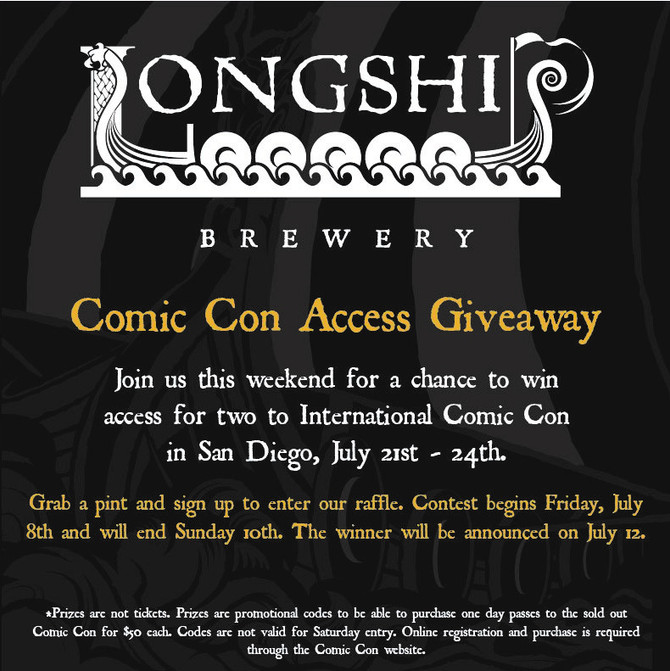 Longship Brewery is raffling off two Comic Con access codes!