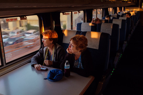 Sisters on a train, Pacific Surfliner 2019