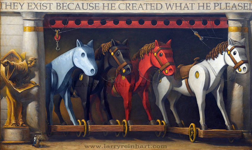 Larry Reinhart's oil painting, The Four Horsemen.