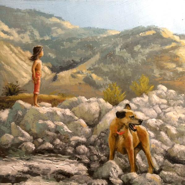 Mill Creek Buddies, 6x6 oil on Canvas