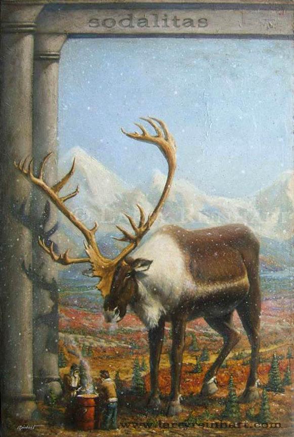 Larry Reinhart's oil painting of a caibou near an Alaska range.