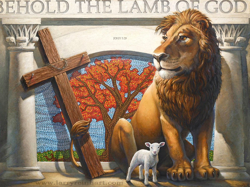 Larry Reinhart's oil painting, The Lion and the Lamb