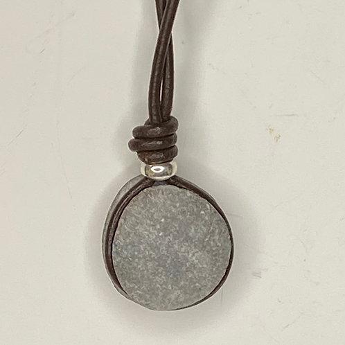 Leather Wrap Stone Pendant LW 08