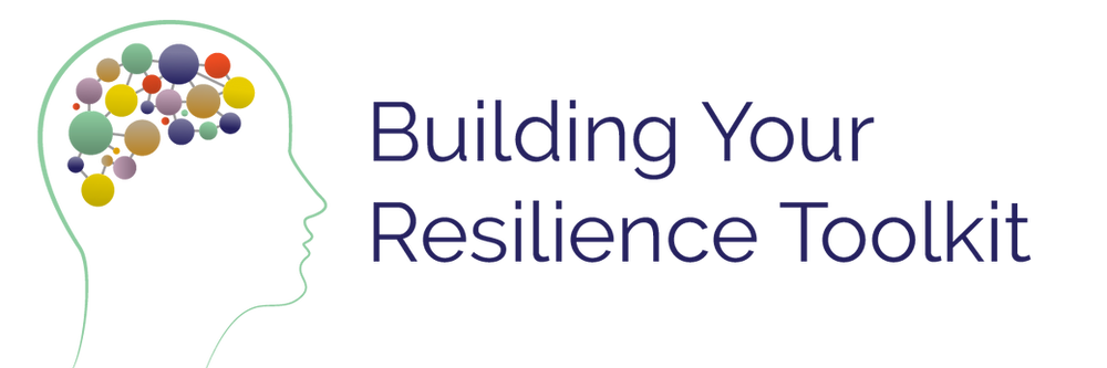 """Outline of a head silhouette with different colors of connected circles inside and text """"Building Your Resilience Toolkit"""""""