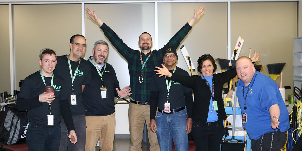 Michael Best (far right) poses with trainees and members of the Relay executive team during Employee Appreciation Week 2019.