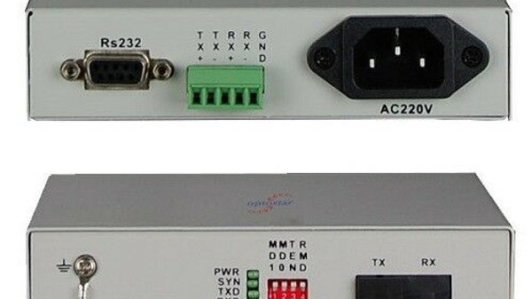 Fiber optic converter between SM Fiber and RS-232/422/485 (1 pair)