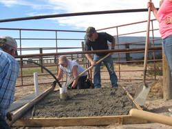 Pouring cement for wash rack