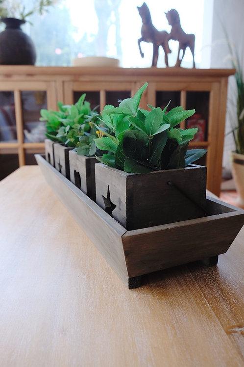 Centro de madera con fanales