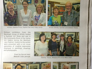 News Paper Snapd Sep 2014 : The Markham Group of Artist Summer Show