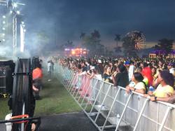 Big Black Misting Fans Line the Stage