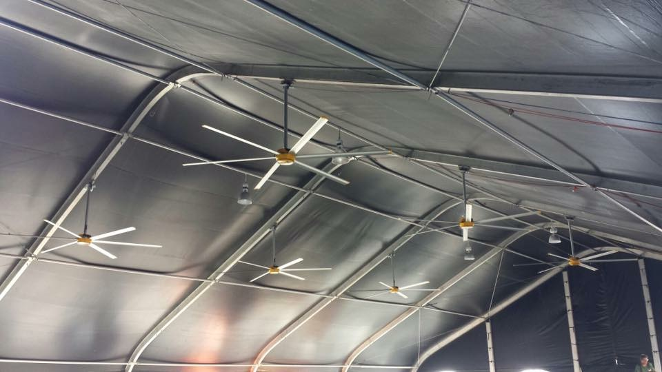 12' Commercial Fans in the Merchandise Tent