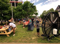 Big Black Misting Fan in the Picnic Area