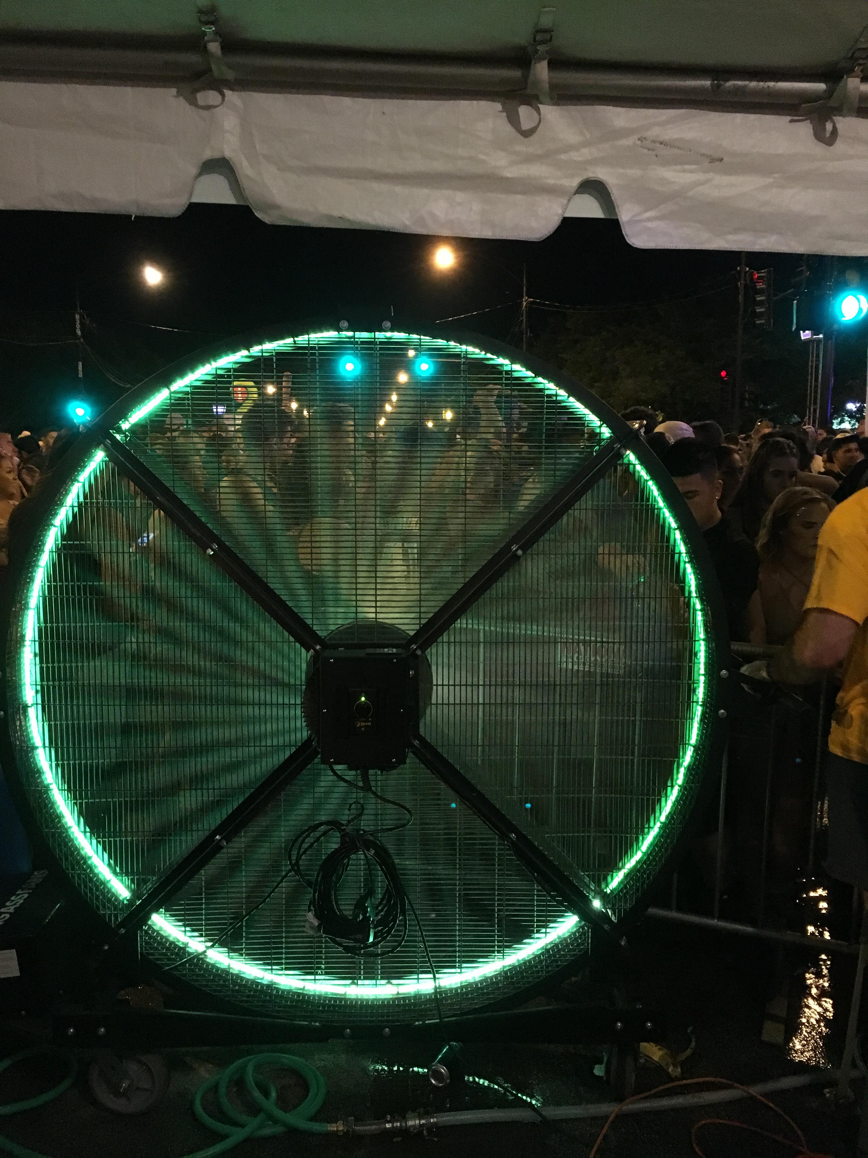 Big Black Misting Fan with LED Lights