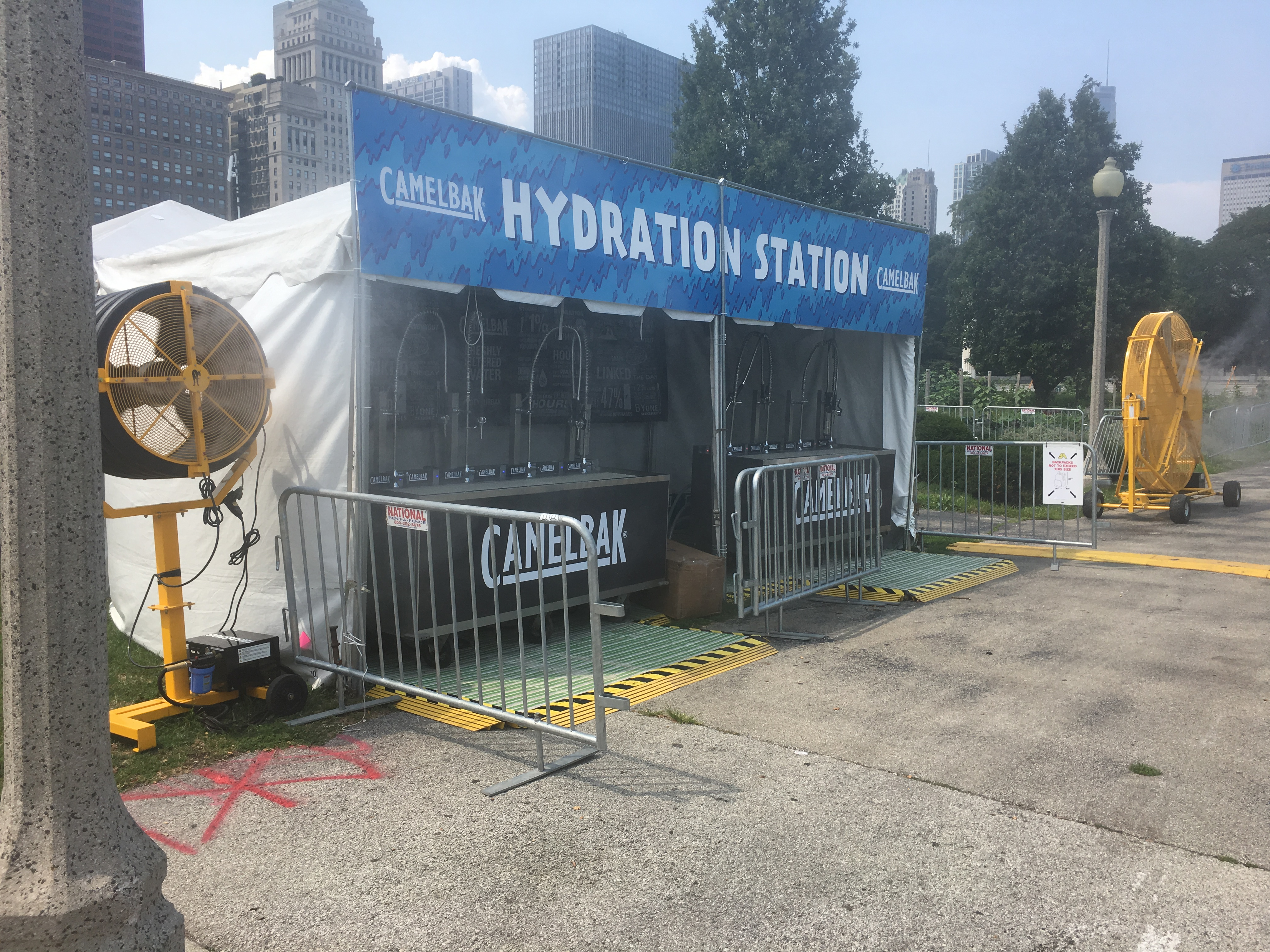 Big Yellow and 3' Pedestal Misting Fans at the Hydration Station